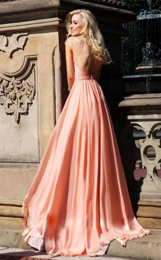 Pastel coral bridesmaid dress with open back