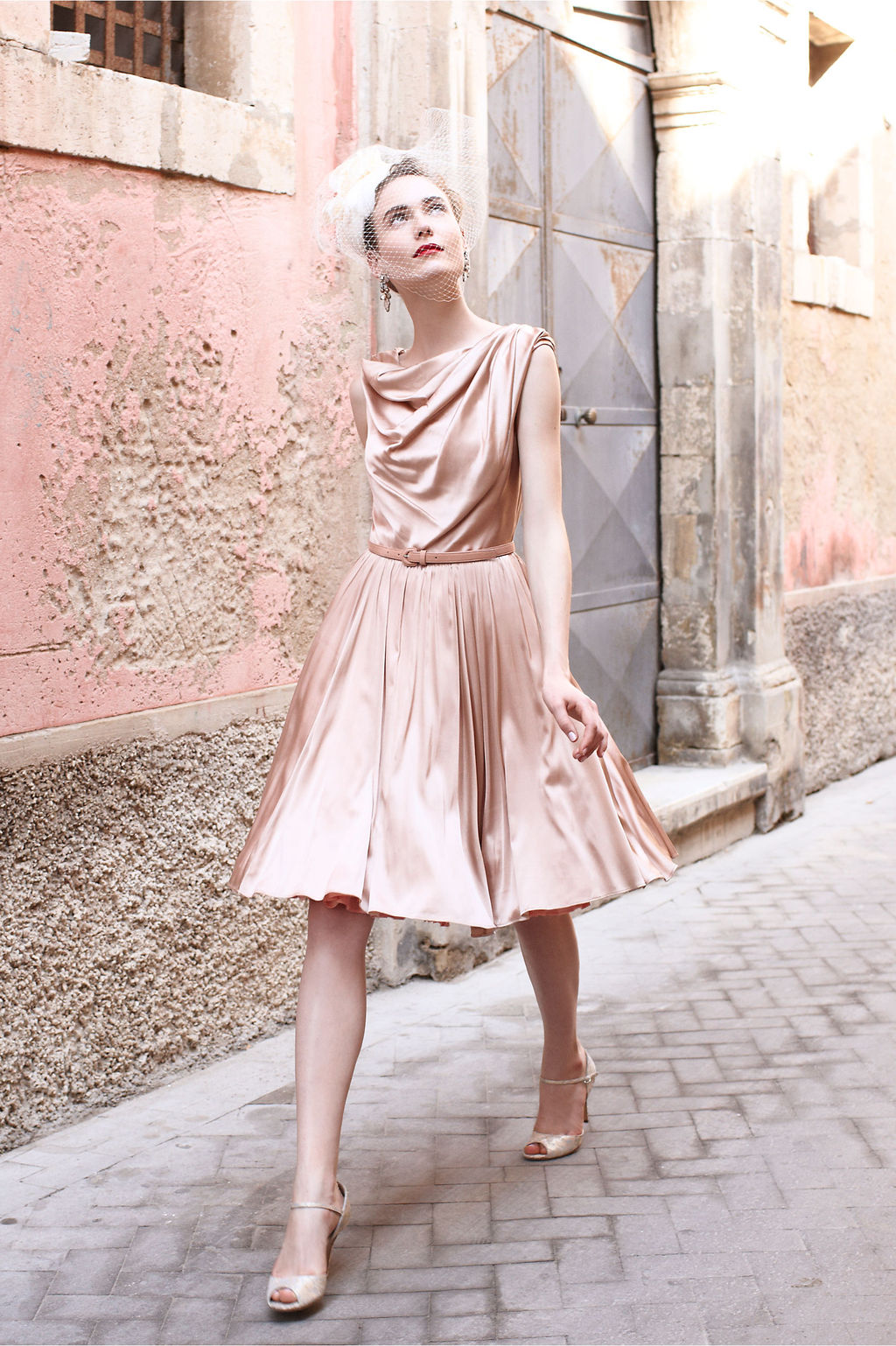 Blush-pink-silk-bridesmaid-dress-with-cowl-neck.full