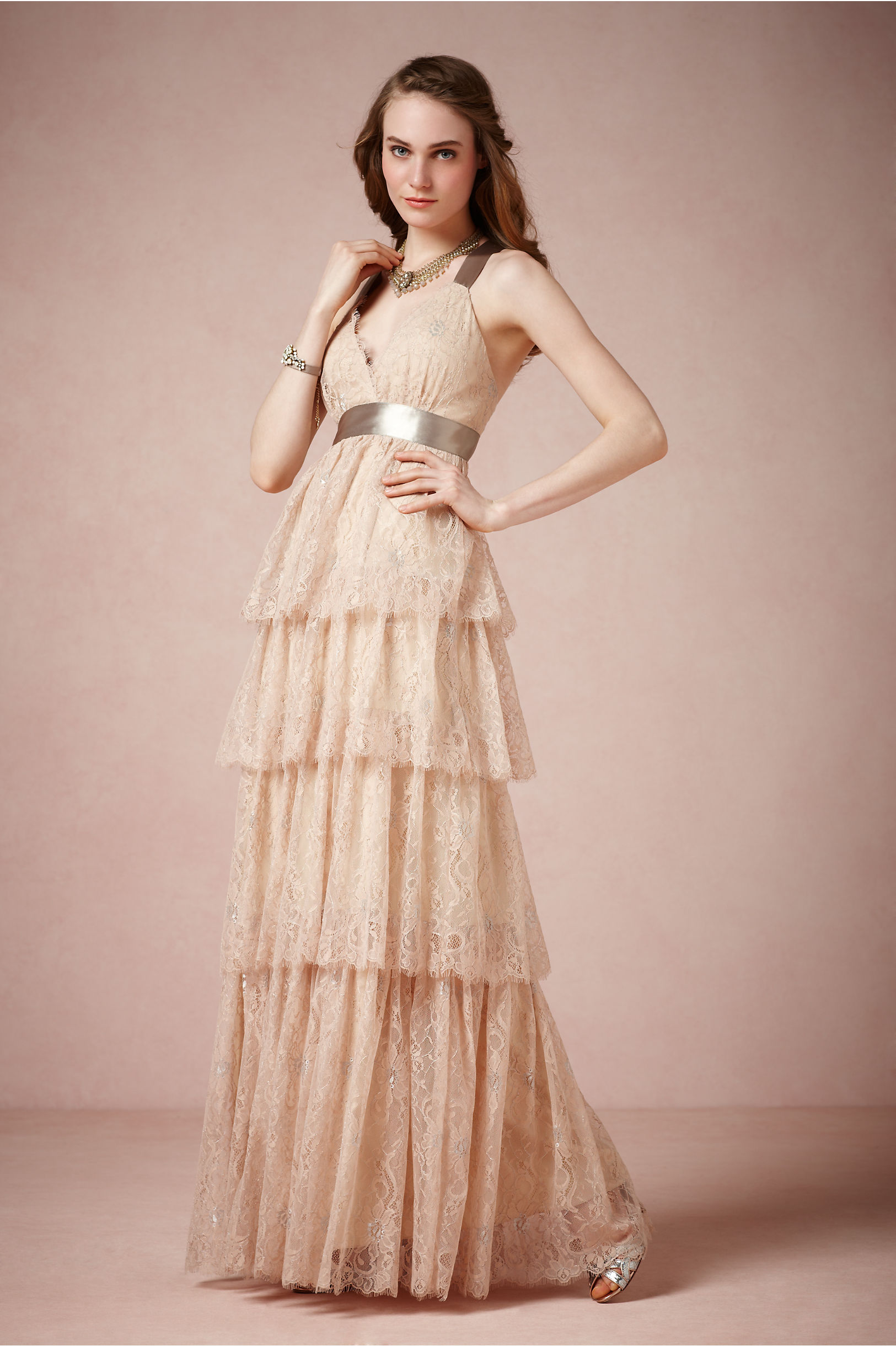 Long lace bridesmaid dress in light blush pink