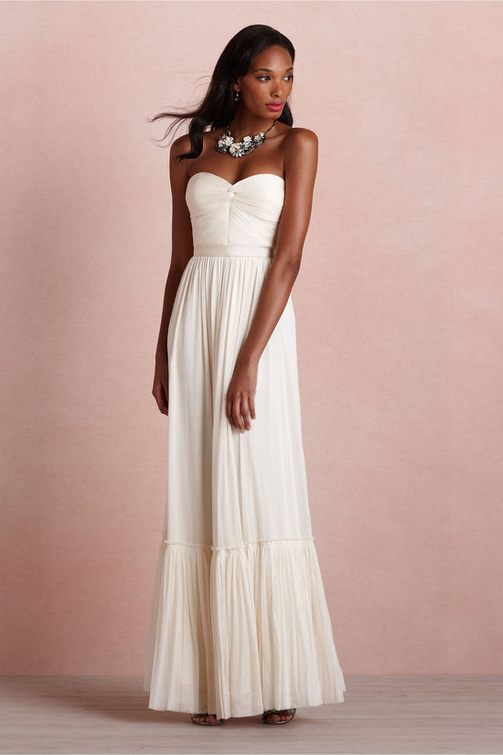 Cream long bridesmaid dress with pleated bodice