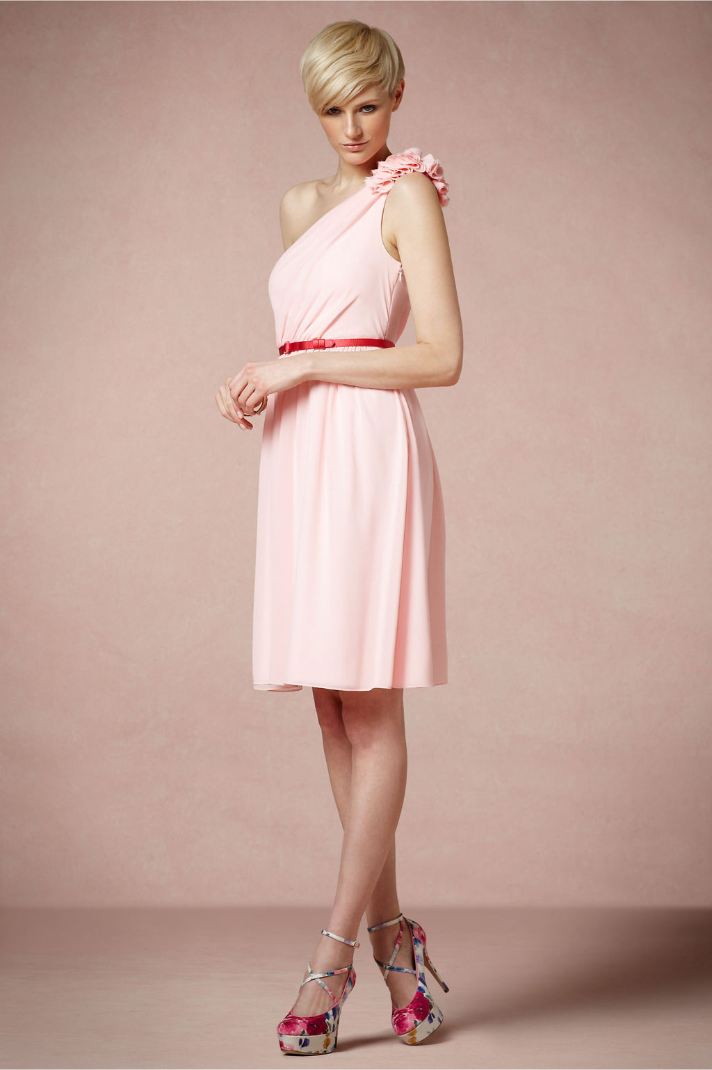 Light pink one shoulder bridesmaid dress with belt