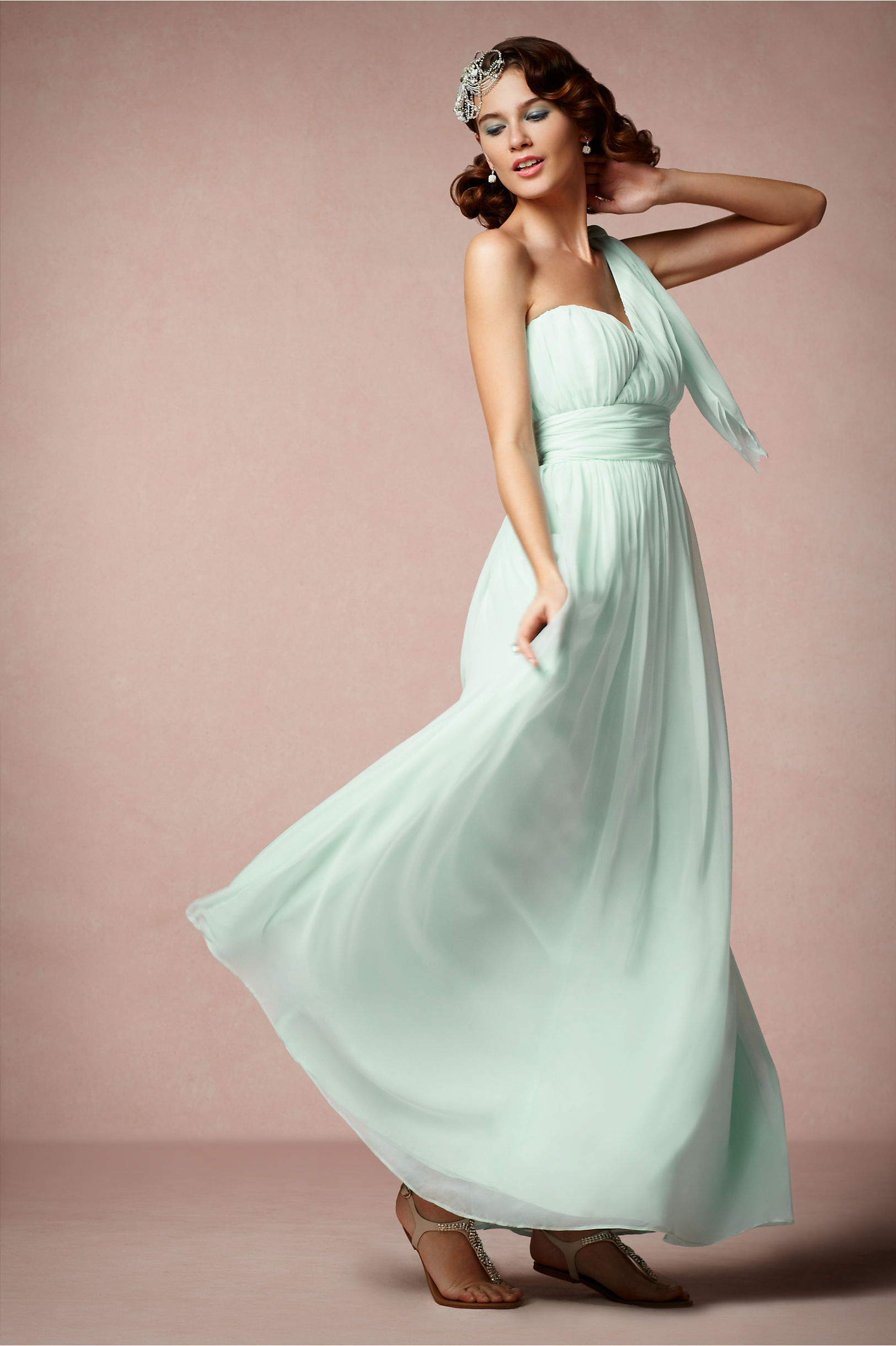 Pastel aqua bridesmaid dress with grecian inspired draping for Pastel green wedding dress