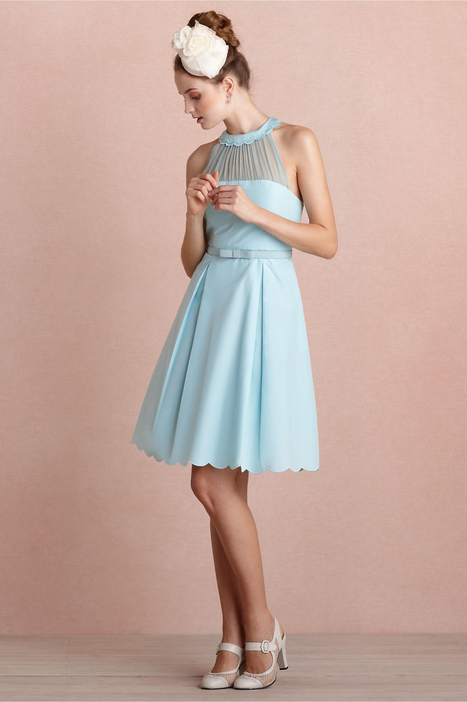 Sky blue bridesmaid dress with illusion neckline for Sky blue wedding guest dresses