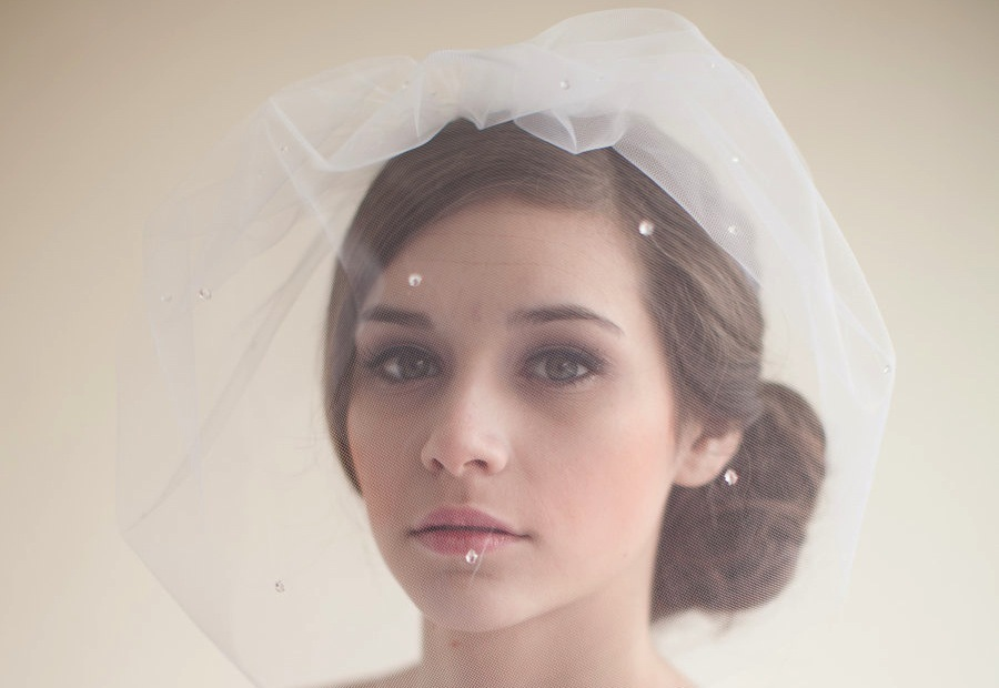 Blusher bridal veil with crystals
