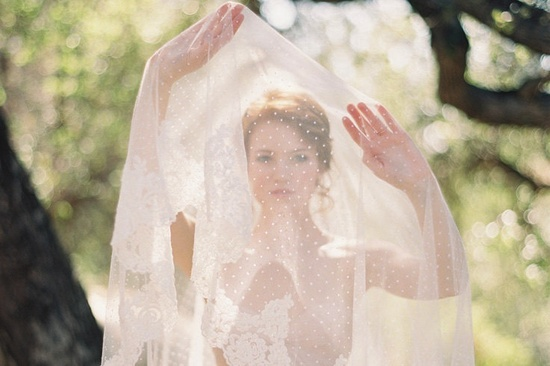 Lace and Swiss Dot wedding veil