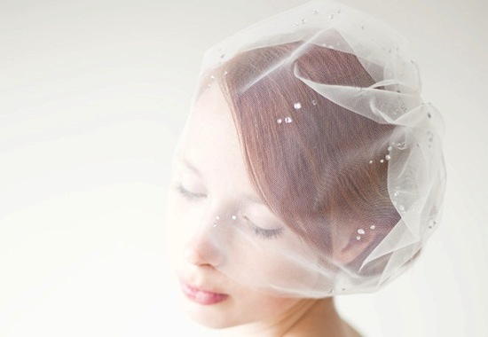 Crystal embellished blusher wedding veil