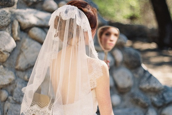 French net and lace wedding veil