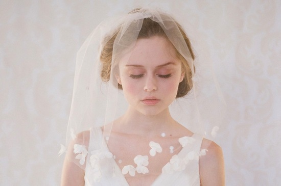 Petal adorned wedding blusher veil