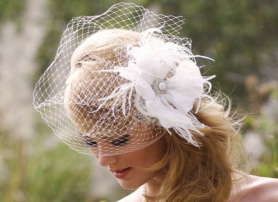 Romantic bridal headpiece with feather flower with blusher