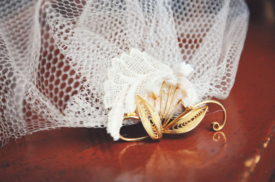 Cream net bridal blusher with gold vintage accent