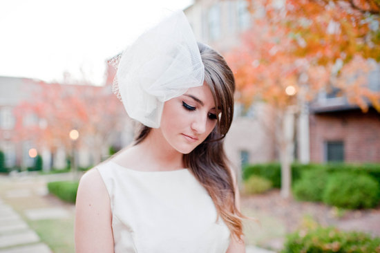 Ivory net bridal headband with blusher
