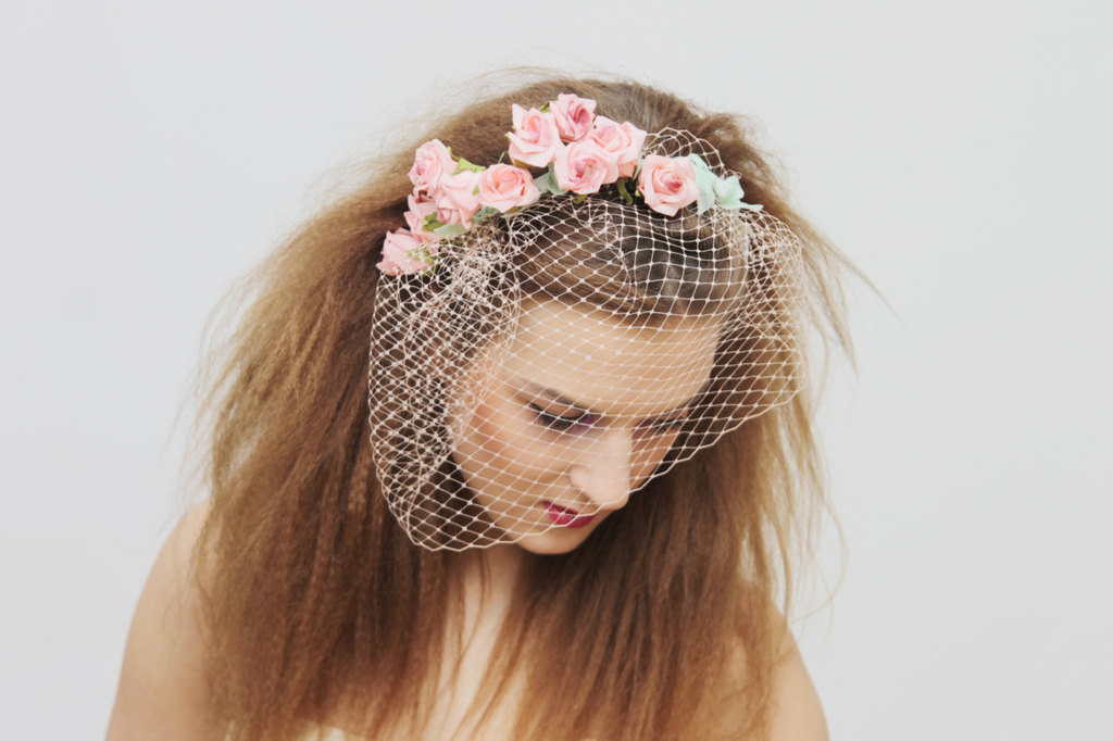 Pink floral adorned wedding blusher veil