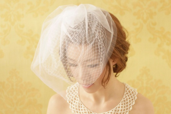 Double layer full wedding veil birdcage