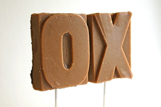 Xo chocolate and toffee wedding favors