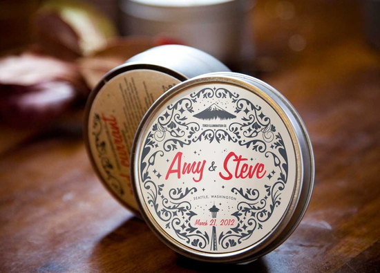 Unique wedding favors customized travel candles