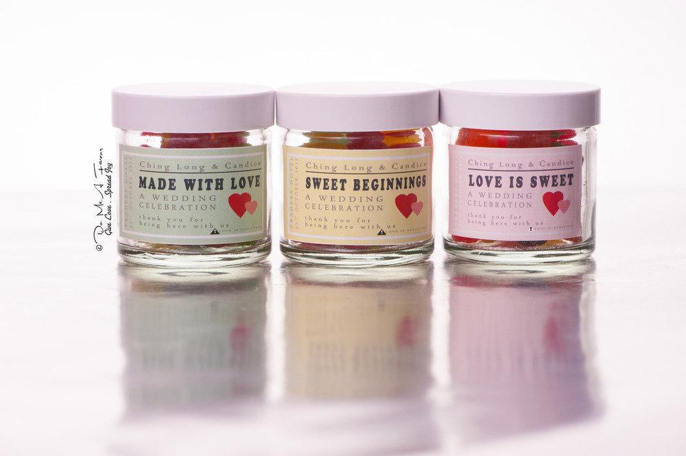 Gummy Candy Wedding Favors In Custom Jars