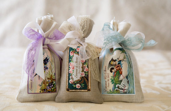 Vintage soap satchels for wedding favors