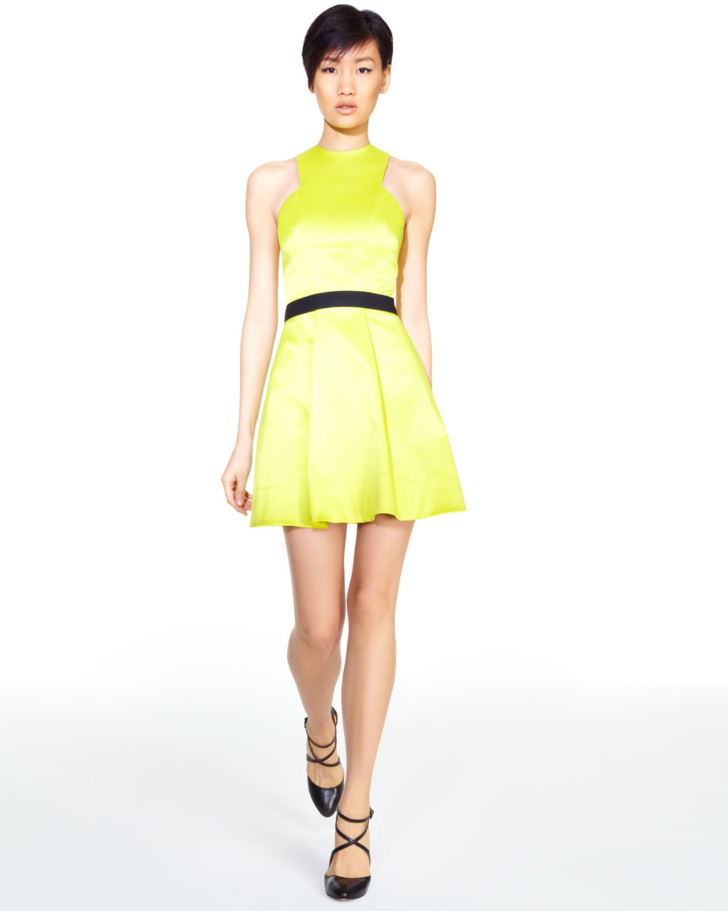 Electric-yellow-bridesmaid-dress-with-black-sash.full