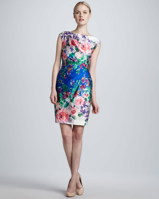 Batuea neck floral printed bridesmaid dress