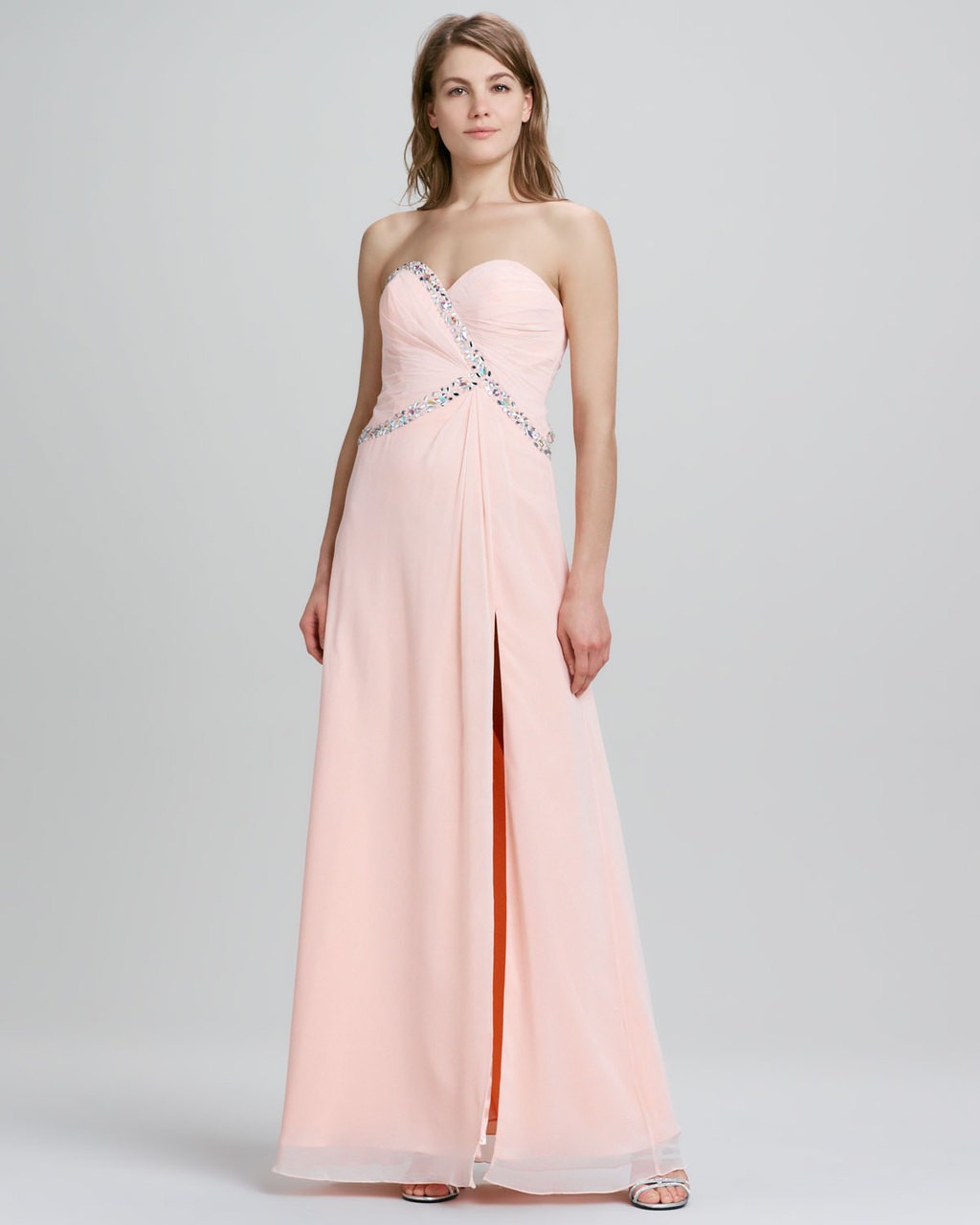 Pastel peach long bridesmaid dress with elegant beading