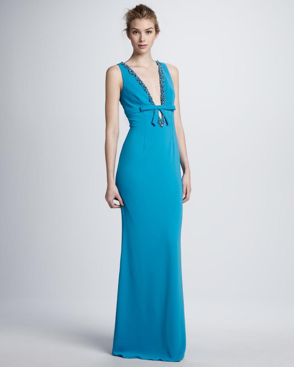 Deep aqua long bridesmaid dress
