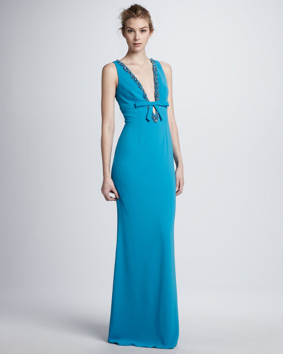 Deep aqua long bridesmaid dress