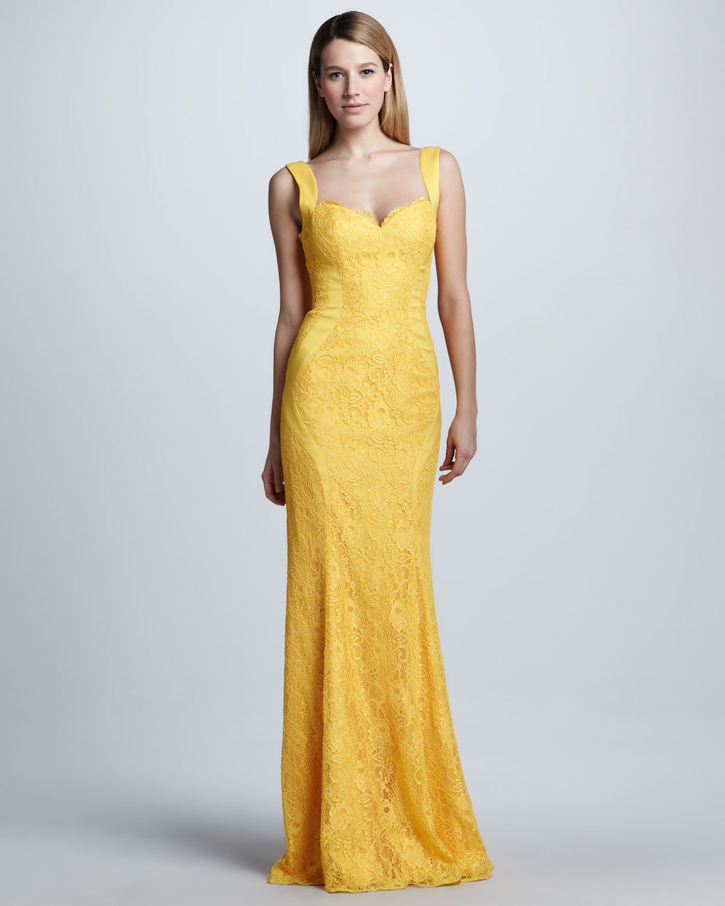 Yellow lace bridesmaid dress by monique lhuillier for Yellow dresses for wedding