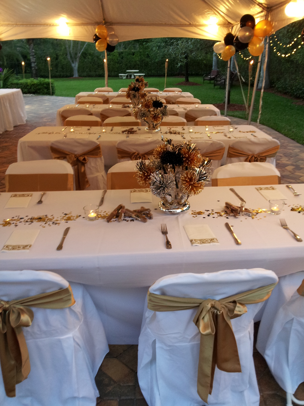 White & Gold Table Linens Setup Party