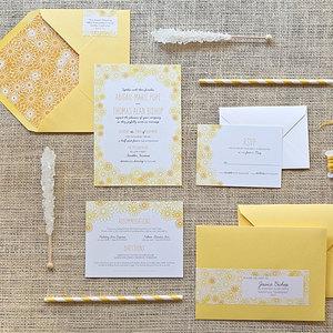Bright Wedding Invitations Yellow Black White