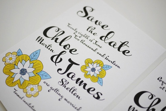 Vintage inspired floral wedding save the date