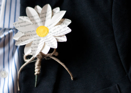 Paper daisy grooms boutonniere