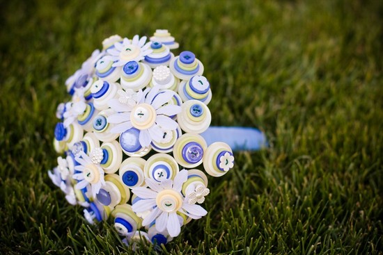Blue yellow and white button wedding bouquet
