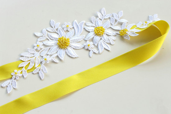 White and yellow daisy wedding sash