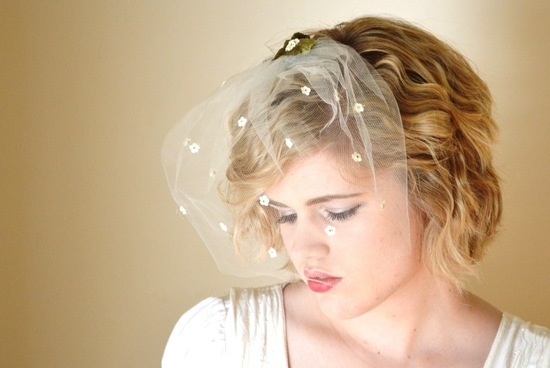 Delicate daisy adorned wedding veil
