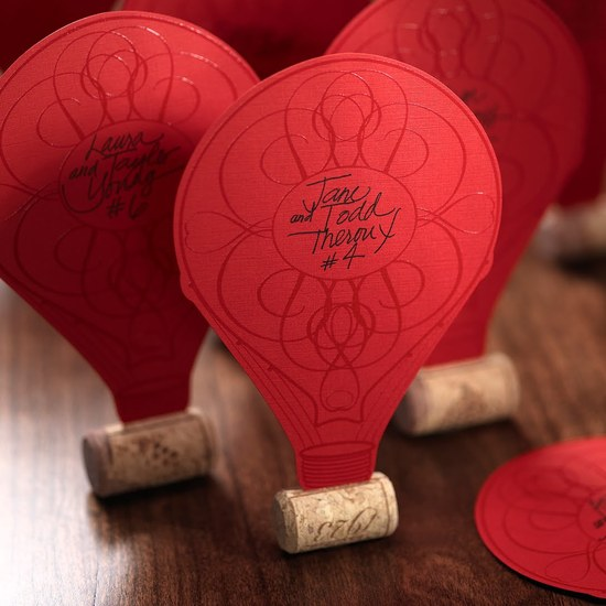 Hot air balloon wedding escort cards