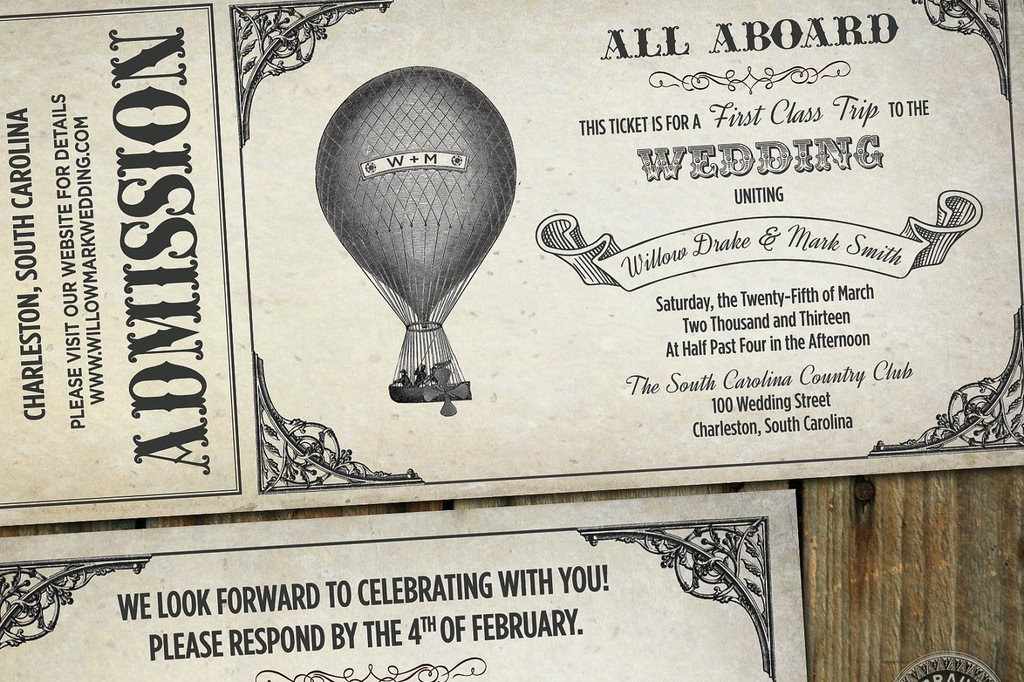 Vintage Southern wedding hot air balloon invites