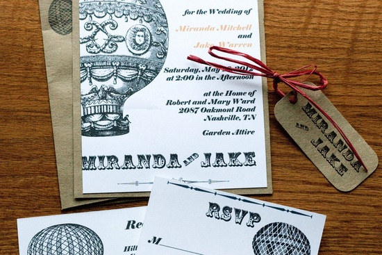 Vintage balloons wedding invitation