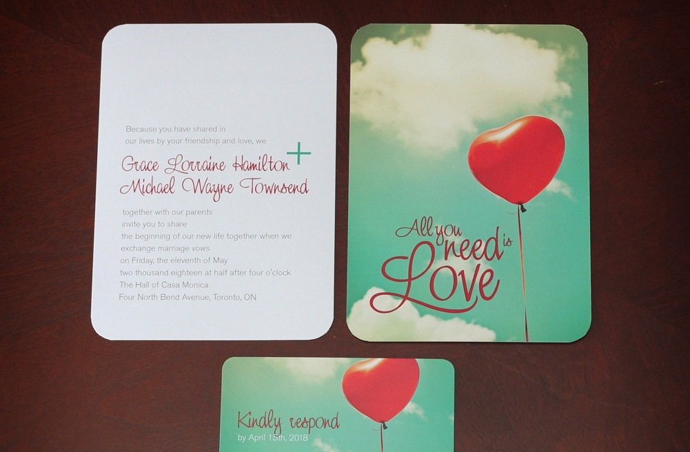 heart shaped balloon wedding invitation