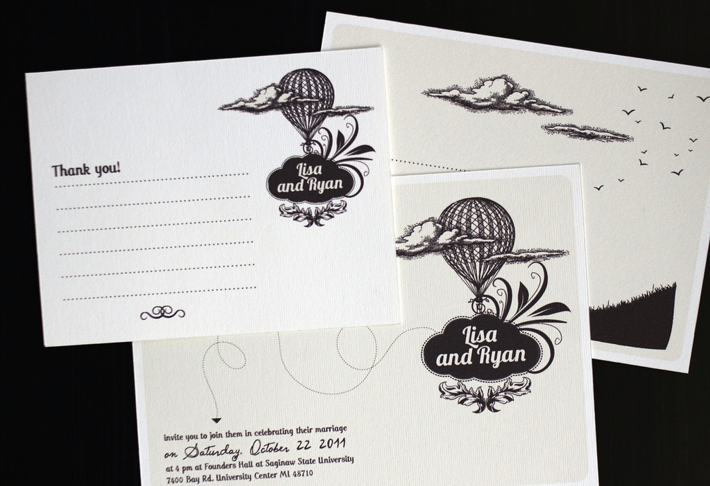 Black and white custom wedding invites