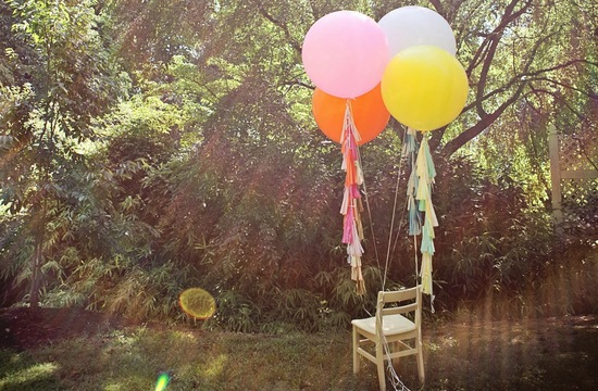 Outdoor wedding decor balloons