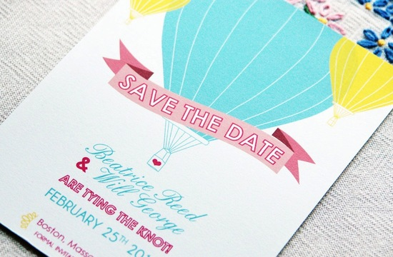 Pastel wedding save the date hot air balloon