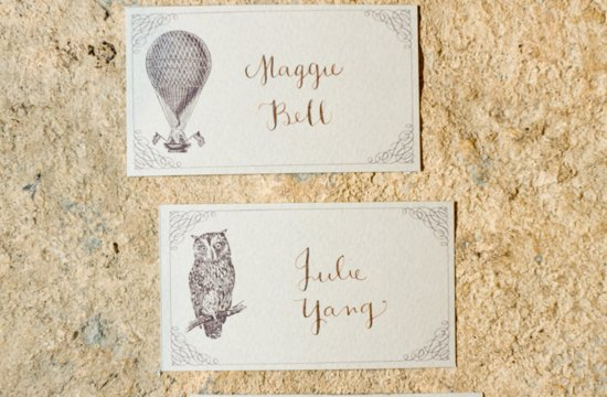 vintage hot air balloon escort cards