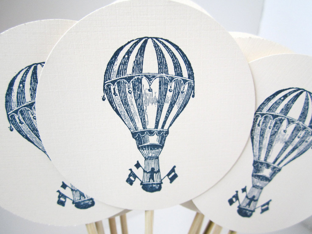 Hot air balloon wedding cupcake toppers