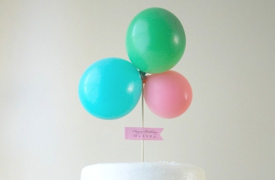 unique wedding cake topper pastel balloons