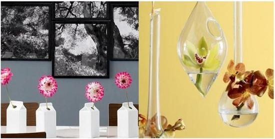 CB2: Carton Vase & Teardrop Diamond Hanging Vase