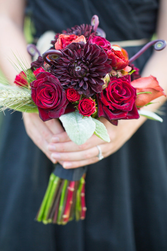 Harvard Crimson wedding inspiration bridesmaid bouquet