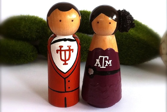 Competing March Madness Teams Wedding Cake Topper