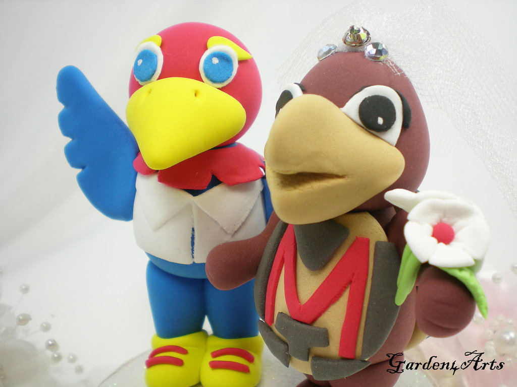KU wedding cake toppers