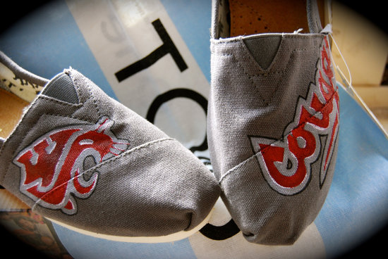 Gray toms wedding shoes hand painted