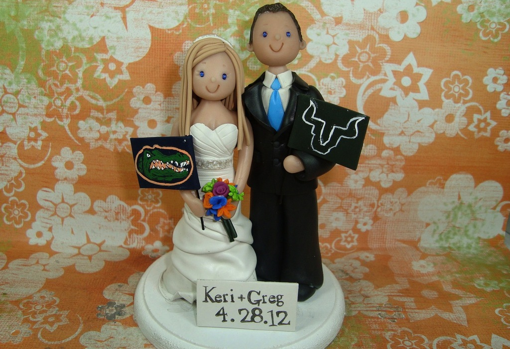 Cute custom wedding cake toppers sports fans